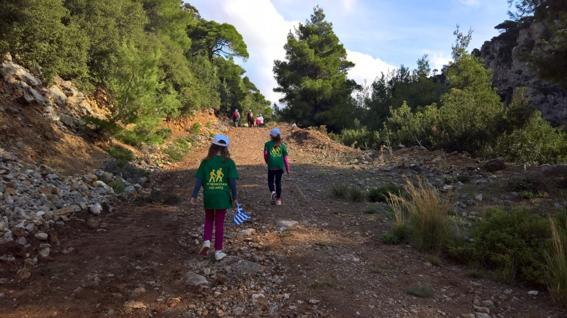 Evia Greece with kids trekking